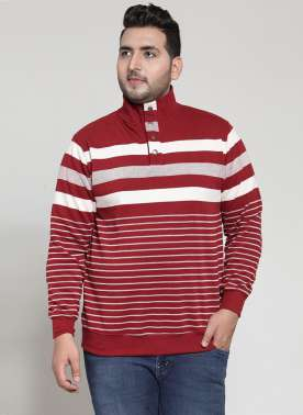 plusS Red & White Striped Sweatshirt