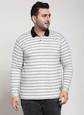 plusS Men White Striped Button-Down Collar T-shirt
