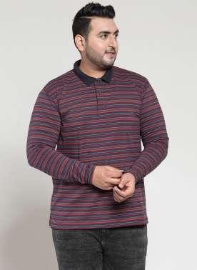 plusS Men Brown Solid Polo Collar T-shirt