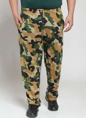 PlusS Men Green & Brown Camouflage Print Trackpant