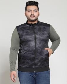 PlusS Men Black Printed Jacket