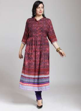 PLUSS WOMEN RED & BLUE PRINTED A-LINE KURTA