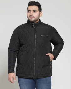 PlusS Men Black Self Design Quilted Jacket
