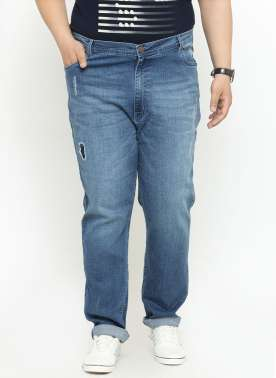 Men Navy Blue Regular Fit High-Rise Clean Look Jeans
