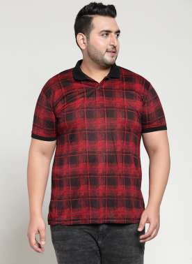 PlusS Mens Red Check Polo Collar T-shirt