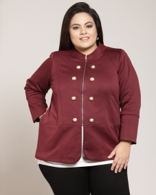 PlusS Women Wine Solid Open Front Jacket