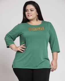 plusS Women Green Printed Top