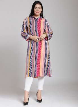 plusS Women Multicoloured Printed Straight Kurta