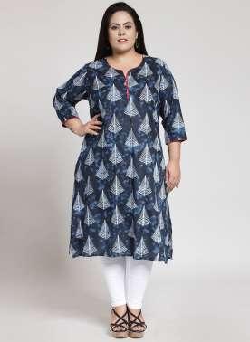 plusS Women Blue & White Printed A-Line Kurta