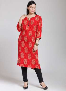 plusS Women Red & Beige Printed Straight Kurta