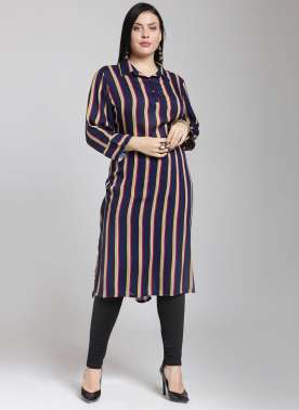 plusS Women Navy Blue & Red Striped Straight Kurta