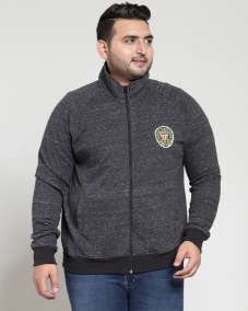 plusS Men Charcoal Grey Self-Design Sweatshirt