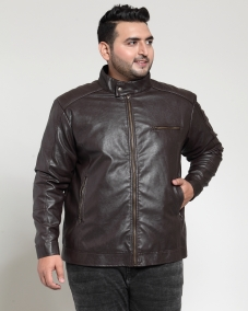 plusS Men Brown Solid Biker Jacket