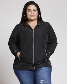 Black Full sleeve quilted zeeper jacket