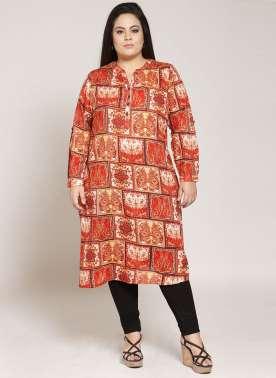 plusS Women Orange & Cream-Coloured Printed Straight Kurta