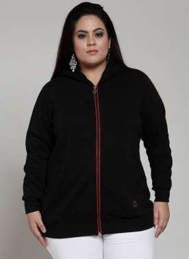 plusS Women Black Solid Hooded Sweatshirt