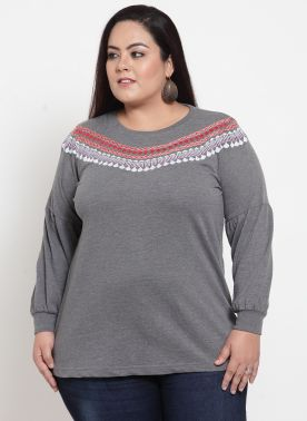plusS Women Grey Embroidered Sweatshirt