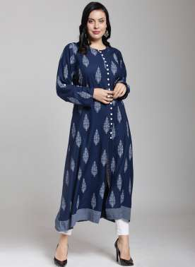plusS Women Blue Printed A-Line Kurta