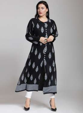 plusS Women Black & White Printed A-Line Kurta