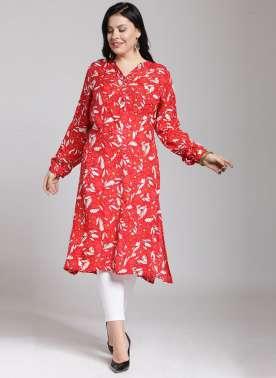 plusS Women Red & White Printed A-Line Kurta