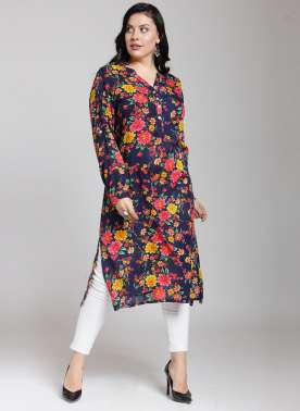 plusS Women Blue & Pink Printed Straight Kurta