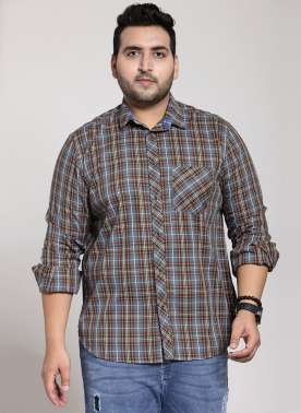 plusS Men Grey & Navy Blue Regular Fit Checked Casual Shirt