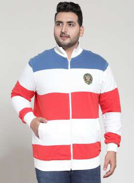 plusS Men White, Blue & Red Colourblocked Sweatshirt
