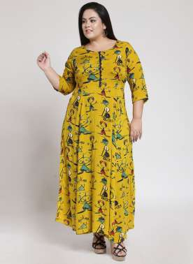 plusS Women Yellow & Green Printed Anarkali Kurta