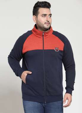plusS Men Navy Blue & Red Colourblocked Sweatshirt