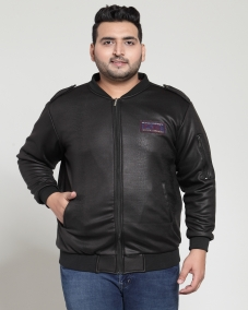 plusS Men Black Textured Bomber Jacket