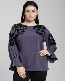 plusS Women Purple Printed Top