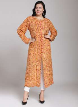 plusS Women Yellow & Red Printed Straight Kurta