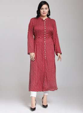 plusS Women Red Printed A-Line Kurta