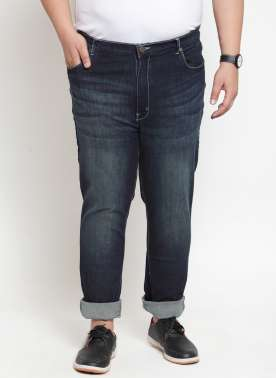 Men Navy Blue Regular Fit gh-Rise Clean Look Jeans
