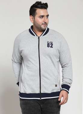 plusS Men Grey Solid Varsity Jacket