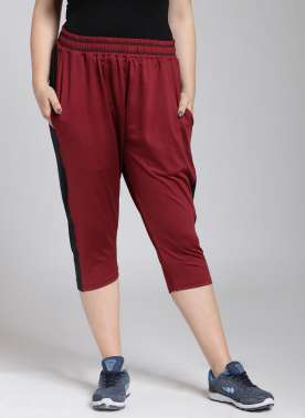 plusS Women Maroon Solid Regular Fit Capris