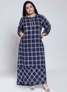 plusS Women Navy Blue Checked A-Line Kurta