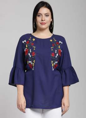 plusS Women Blue Printed Top