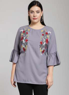 plusS Women Grey Printed Top