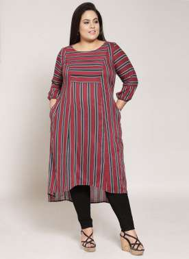 plusS Women Maroon & Black Striped A-Line Kurta