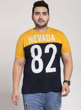 plusS Men Navy Blue & Orange Colourblocked Round Neck T-shirt