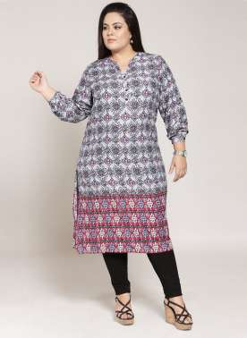 plusS Women Blue & Purple Printed Straight Kurta