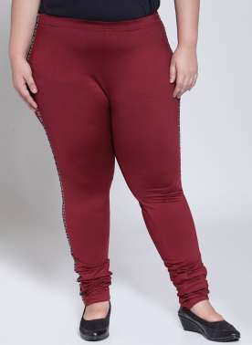 plusS Women Burgundy Churidar Leggings