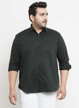 plusS Men Olive Green Comfort Regular Fit Solid Casual Shirt