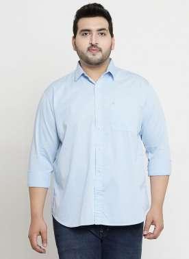 plusS Men Sky Blue Regular Fit Casual Shirt