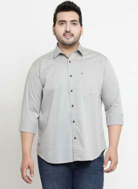 plusS Men Grey Comfort Regular Fit Solid Casual Shirt