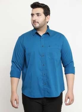 plusS Men Blue Comfort Regular Fit Solid Casual Shirt