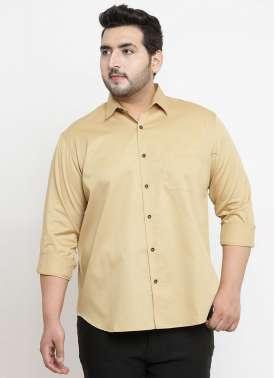 plusS Men Beige Comfort Regular Fit Solid Casual Shirt