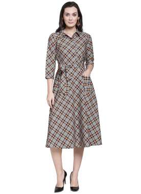 plusS Women Multicoloured Checked Shirt Dress