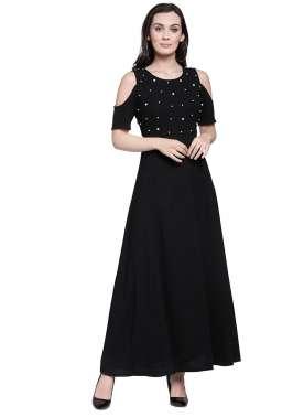 plusS Women Black Printed Maxi Dress